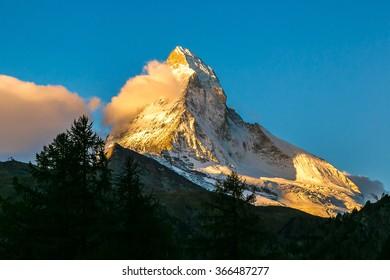 Sunset over mountain Matterhorn in Swiss Alps, Switzerland