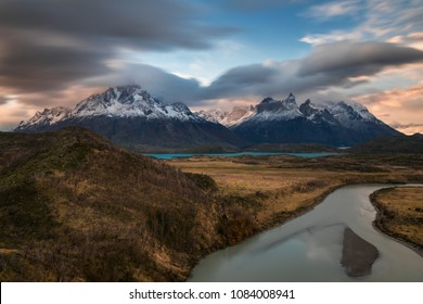 Sunset over the mountain range of Torres del Paine, Patagonia, Chile