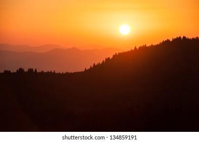 Sunset Over Mountain Ridge