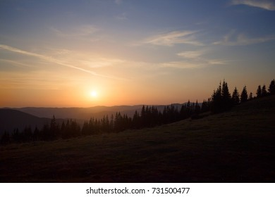 Sunset over a mountain valley, the Carpathians