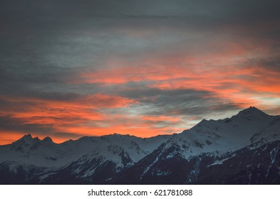 Sunset over the mountains background