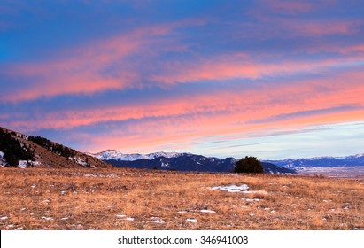 Sunset over the mountains in Bozeman, Montana.