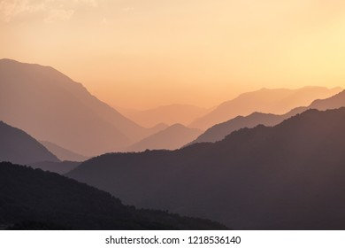 Sunset over mountains in Nagorno Karabakh