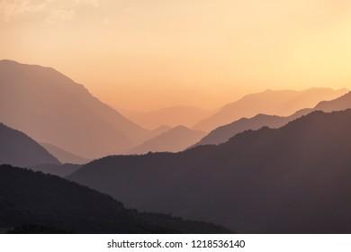 Sunset over mountains in Nagorno Karabakh