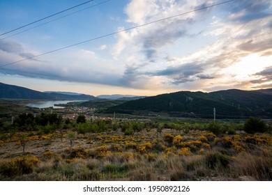 Sunset over the mountains next to the town La Pobla de Segur.