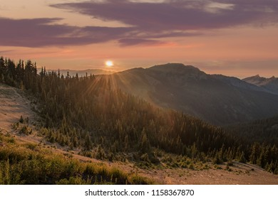 Sunset over mountains. Olympic National Park, Washington.