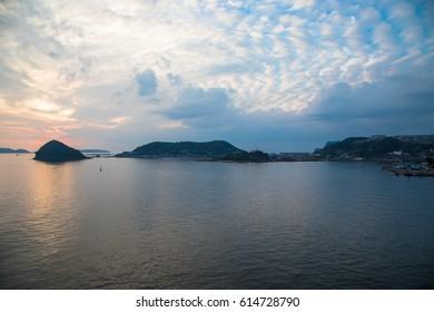Sunset over the mouth of Nagasaki Bay, Nagasaki, Japan