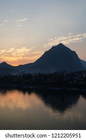 Sunset over the Nam Ou River at Nong Khiaw from the guest house near Luang Prabang in Laos