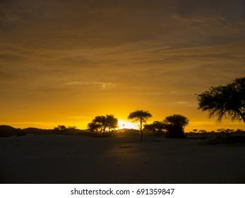 Sunset over Namibia's Amboseli National Park