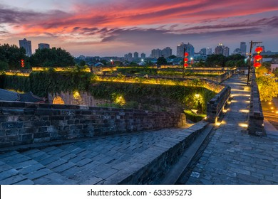 Sunset over Nanjing, China, seen from the old city walls.
