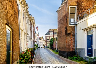 Sunset over Narrow Streets in the Historic City of Middelburg in Zeeland Province, the Netherlands
