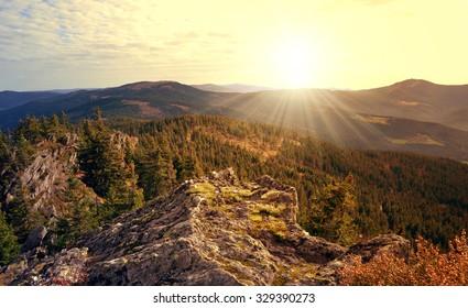 Sunset over the National park Sumava in Czech Republic