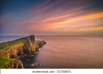 Sunset over Neist Point Lighthouse, Skye.