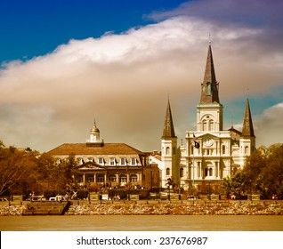 Sunset over New Orleans. Beautiful view of St Louis Cathedral.