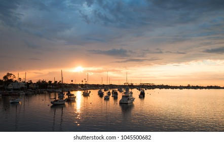 Sunset over Newport Beach Harbor in southern California United States
