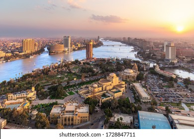 Sunset over the Nile in Cairo, aerial view, Egypt