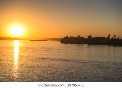 Sunset over the Nile river in Egypt