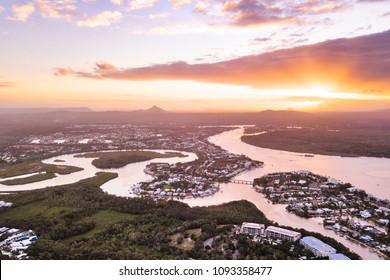Sunset over the Noosa River and Mt Coolum, Noosa Heads, Sunshine Coast, Queensland, Australia