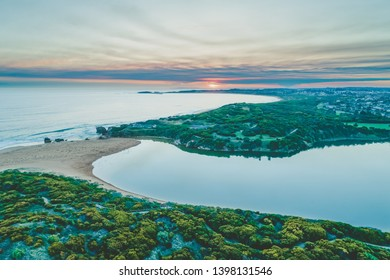 Sunset over ocean near Warrnambool - aerial view