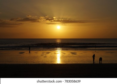 Sunset over Ocean on Nosara Beach, Costa Rica.