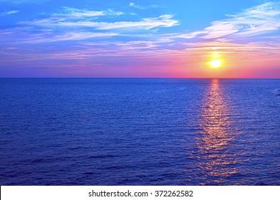 Sunset over ocean in Sevastopol in Crimea