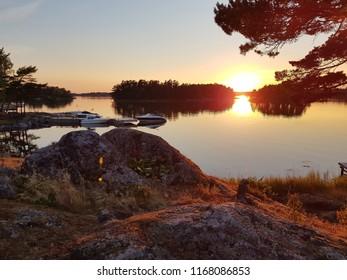 Sunset over ocean in the swedish archipelago