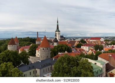 Sunset over Old City Town Tallinn In Estonia