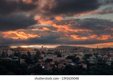 Sunset over the old European city. Chernivtsi, Ukraine