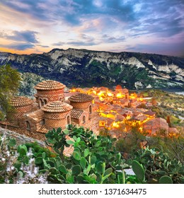 Sunset over old famous medieval village Stilo in Calabria. View on church and city. Southern Italy. Europe.