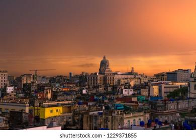 Sunset over Old Havana, where the capitol of Havana predominates.