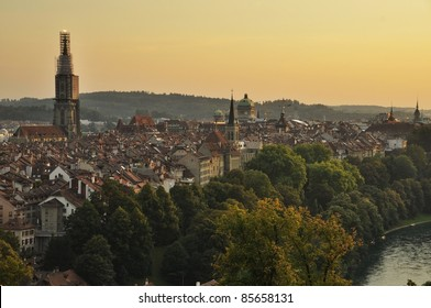 Sunset over old town of Bern