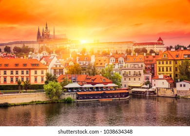 Sunset over Old Town in Prague, Czech Republic.
