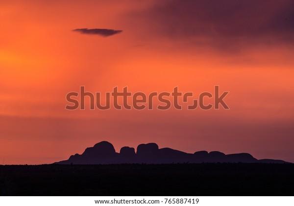 Sunset over Olgas