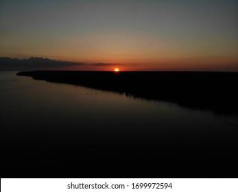 Sunset over Oneida Lake in New York state