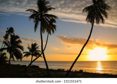 Sunset over Ouvea lagoon on Ouvea Island, Loyalty Islands, New Caledonia. The lagoon was listed as Unesco World Heritage site in 2008.