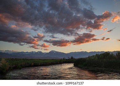 Sunset over the Owens River near Bishop California