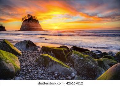 Sunset over the Pacific coast at Rialto beach near La Push in Olympic National Park, Washington, USA