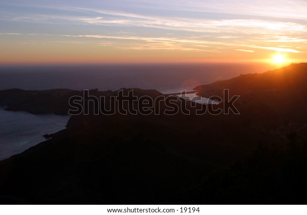 Sunset over the Pacific Ocean, Marin County California