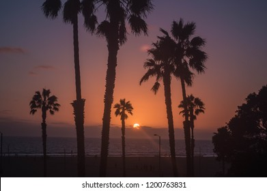 Sunset over Pacific Ocean in Santa Monica, CA