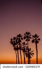 Sunset over the Pacific Ocean in Santa Monica, CA in winter