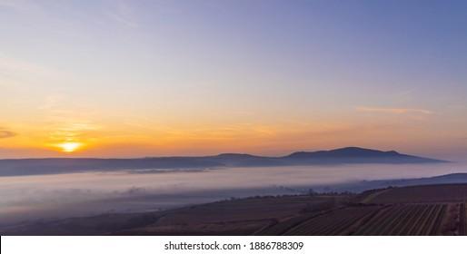 sunset over Palava, Southern Moravia, Czech Republic