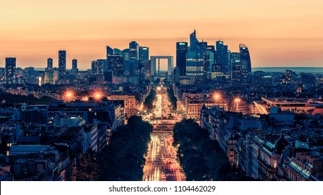 Sunset over Paris viewed from the Arc de Triomphe
