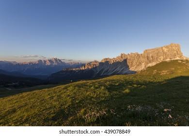 Sunset over the pass Giuau - Dolomites