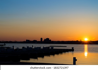 Sunset over Peoria, IL and the Illinois river