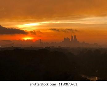 Sunset over Philadelphia PA