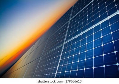 Sunset over a photovoltaic power plant