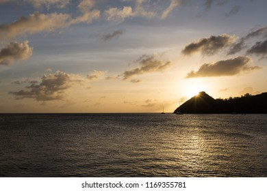 Sunset over Pigeon Island, St Lucia, Caribbean