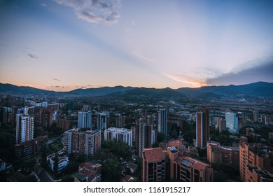 A sunset over the Poblado in Medellín Colombia.