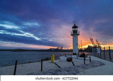 Sunset over the port of Burgas