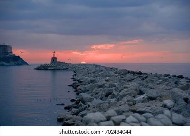 Sunset over Port of Zonguldak city of Turkey.